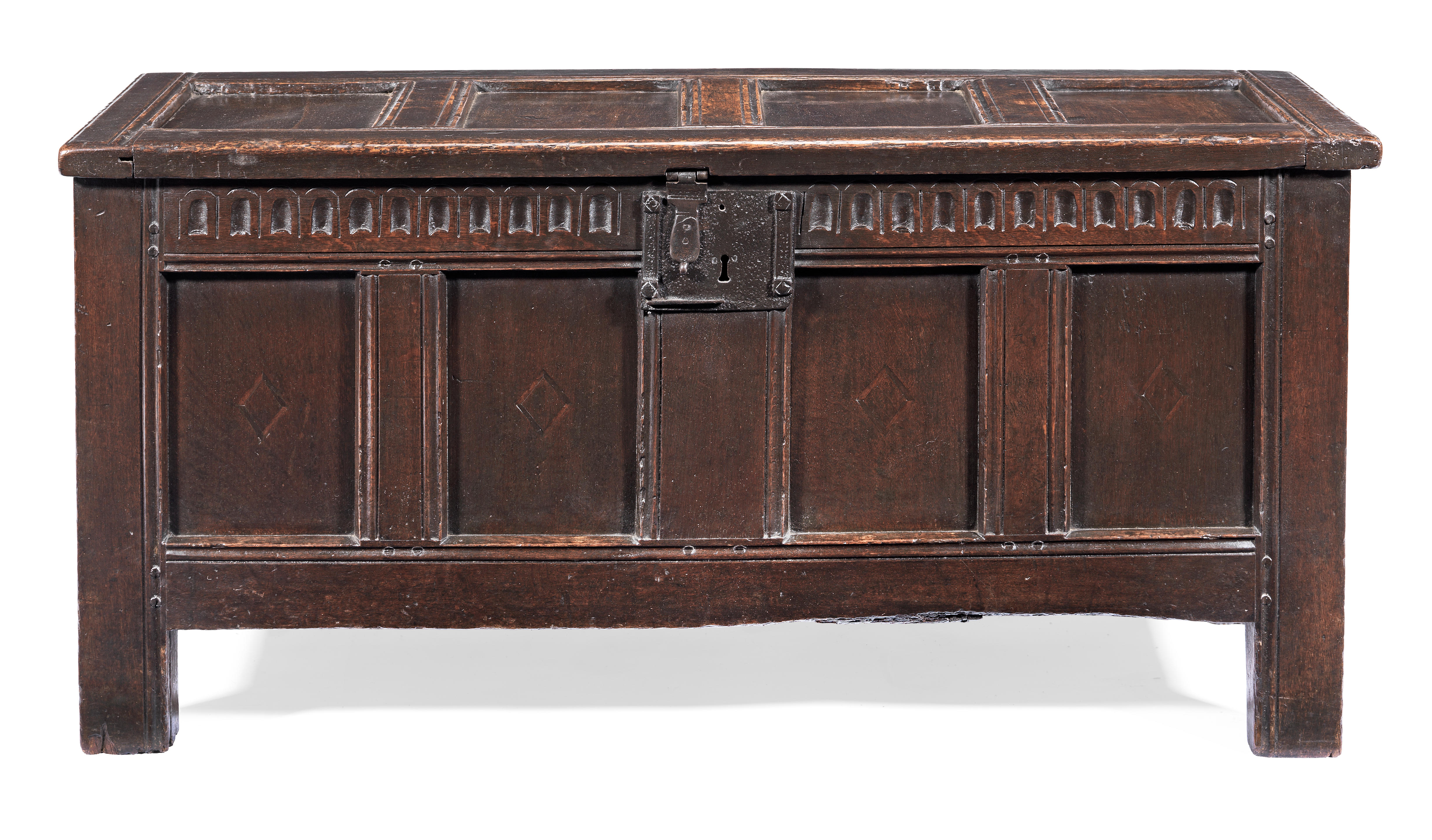 A James I joined oak and inlaid coffer, circa 1620
