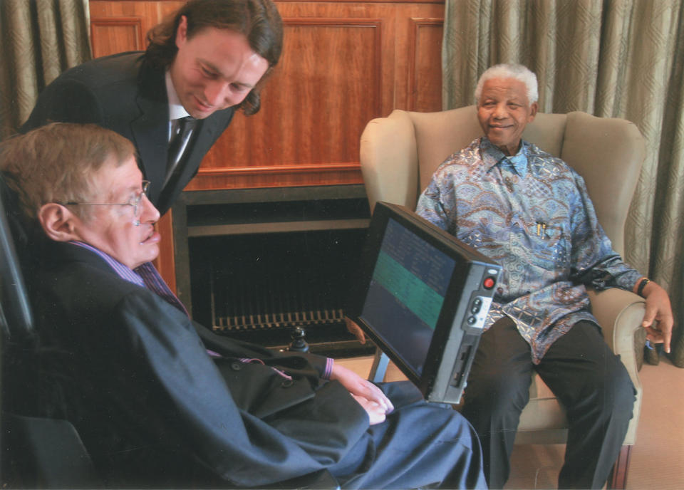 HAWKING (STEPHEN) The Universe in a Nutshell, FIRST EDITION, AUTHOR'S PRESENTATION COPY, WITH HIS THUMB-PRINT on the title-page, Bantam Press, 2001; together with a colour photograph of Stephen Hawking with Nelson Mandela and Peter Breadman