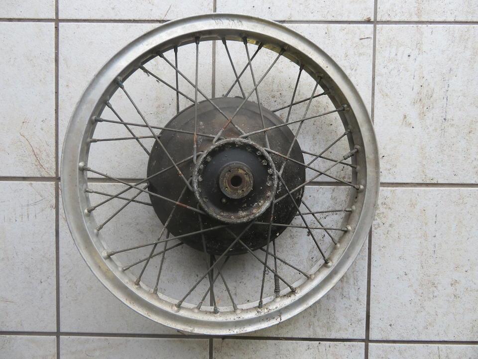 A Norton Manx front wheel