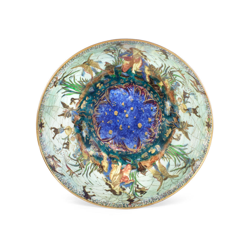 'Poplar Trees': A Black Fairyland Lustre Bowl Designed by Daisy Makeig-Jones for Wedgwood PRINTED FACTORY BACKSTAMP AND PAINTED PATTERN NO. 'Z4968', CIRCA 1925