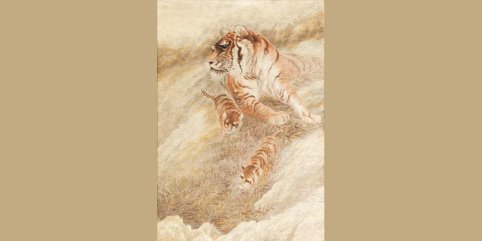 An embroidered silk panel of a tiger and cubs Late Meiji era