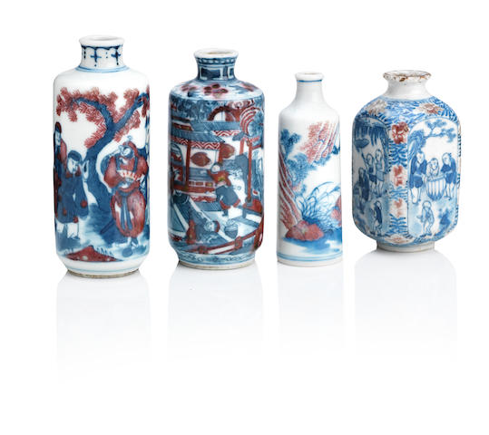 Four underglaze blue and copper-red snuff bottles Qing Dynasty (4)