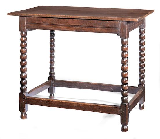 A Charles II joined oak side table, circa 1680