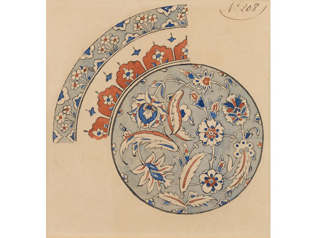Five watercolour designs for Iznik style vessels from the Samson Factory Paris, 19th Century(5)
