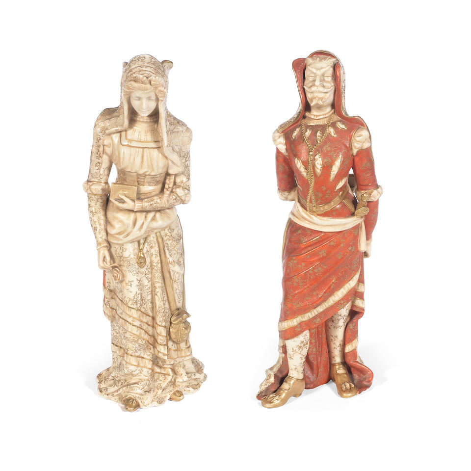 'Mephistopheles & Marguerite': A Vellum Double-Sided Figure by Royal Doulton lion and crown mark, issued circa 1891