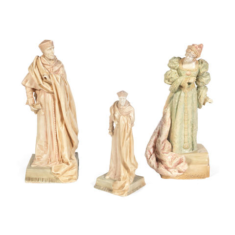 Three Vellum Figures by Royal Doulton lion and crown marks, circa 1899