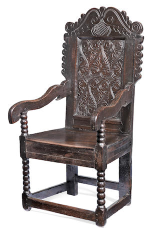 A Charles II joined oak panel-back open armchair, South-West Yorkshire, circa 1680