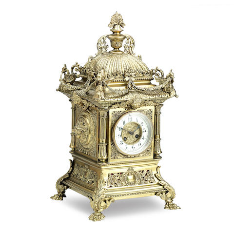 A late 19th century large French brass mantle clock The movement stamped 'Marti et Cie'