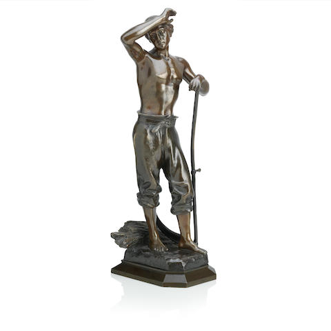 Julien Causse (French) A late 19th century bronze figure of an agricultural worker