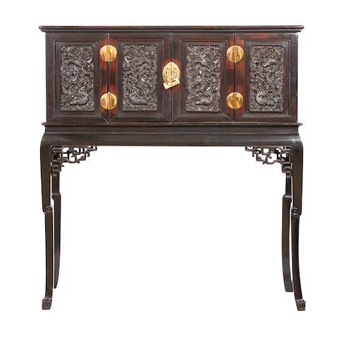 A huanghuali cabinet on a stained-wood stand Cabinet Qing dynasty, the stand later circa 1900
