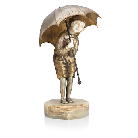 Demétre H. Chiparus (Romanian, 1886-1947) 'Child with Umbrella' a patinated bronze and ivory figure