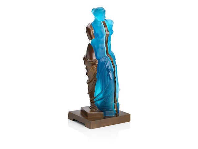 Arman (French, 1928-2005) 'L'Ame de Venus' A contemporary moulded glass and bronze sculpture of Venus, Daum France