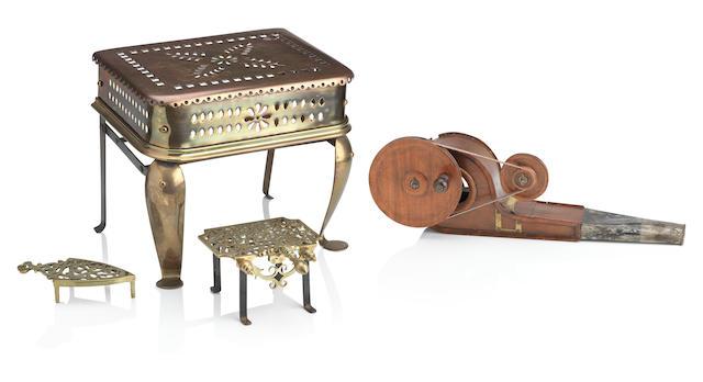 A 19th century brass footman (4)