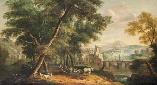 Dutch School, 18th Century An Italianate landscape with figures chopping wood