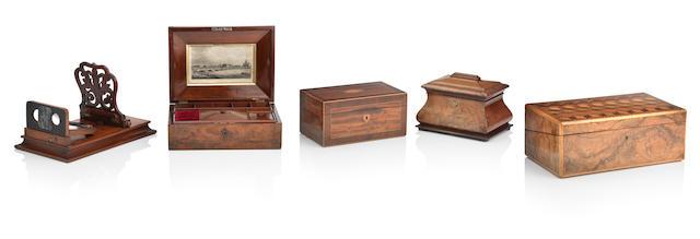 A 19th century mahogany jewellery box  (5)