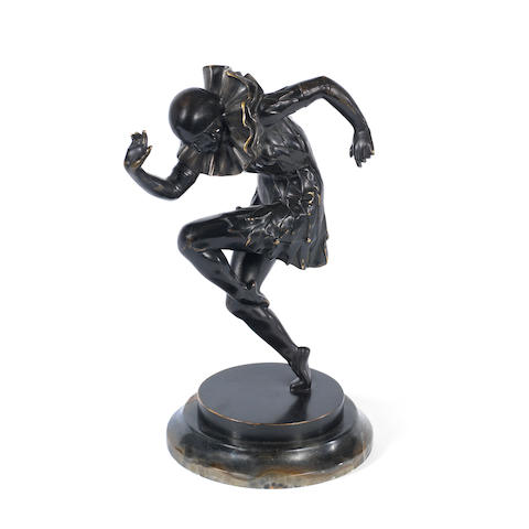 A Patinated Bronze Figure of Dancer cast from a model by Theodore Ullmann signed 'TH. UllMANN' in the cast, circa 1925