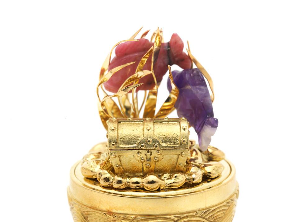 STUART DEVLIN: an 18 carat gold gem-set surprise egg London 1987