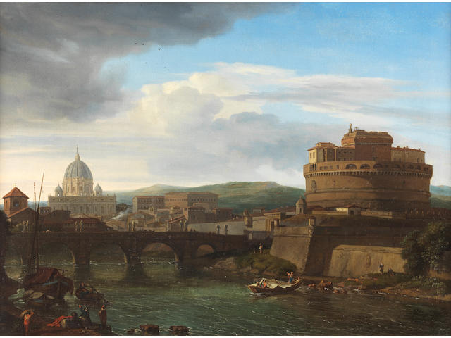 Isaac de Moucheron (Amsterdam 1667-1744) A view of the Tiber, Rome, with the Castel Sant'Angelo and Saint Peter's beyond