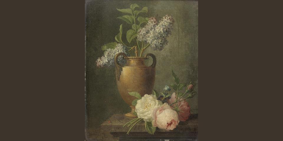 Pieter Faes (Meir 1750-1814 Antwerp) Lilacs in a bronze urn on a stone ledge with roses