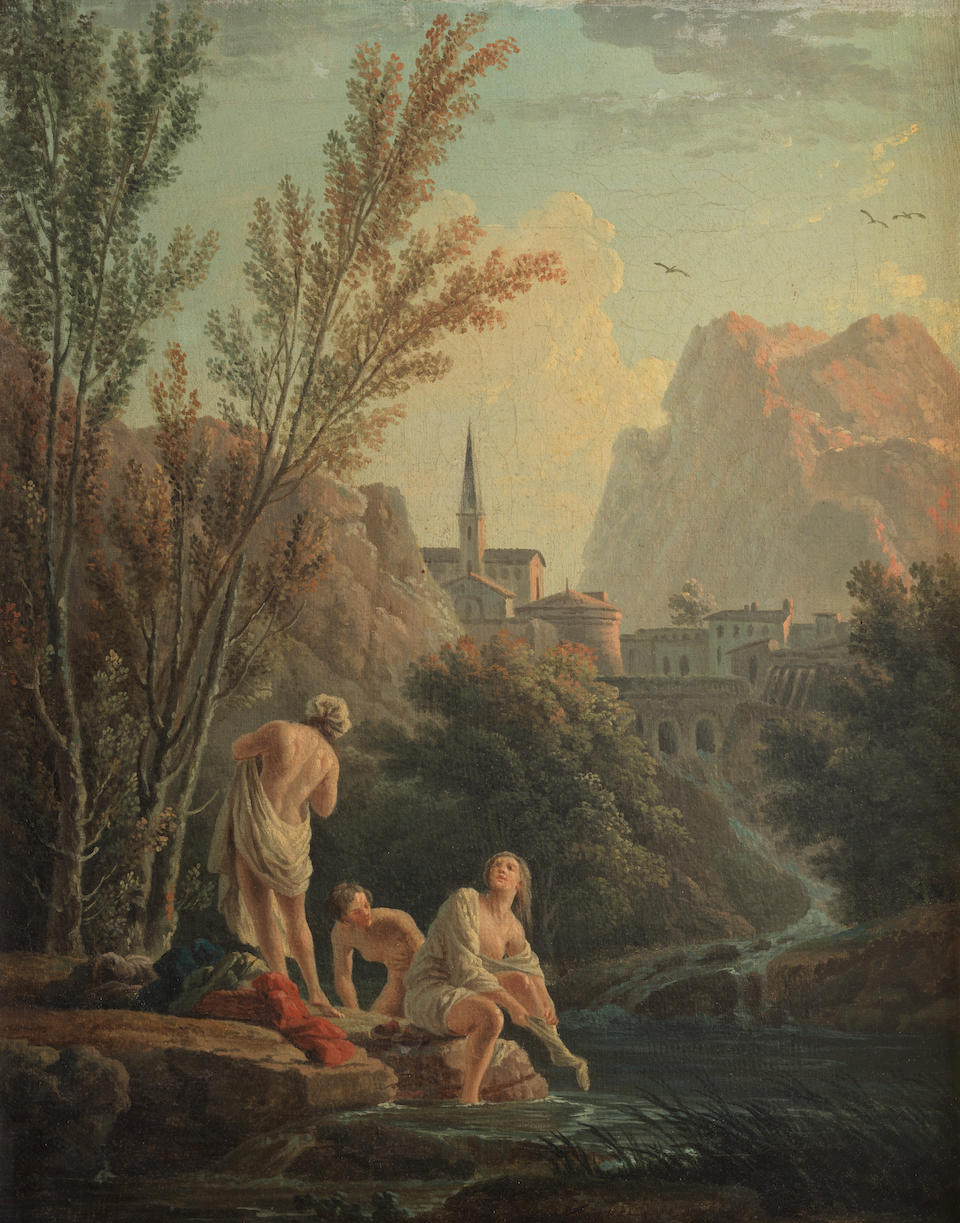 Studio of Claude Joseph Vernet (Avignon 1714-1789 Paris) Les Plaisirs de l'été: Bathers before a waterfall, a hillside town beyond; and A Mediterranean coastline with a fisherman and a woman and her mule on the shore  (2)