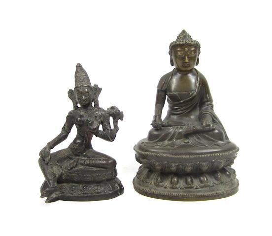 Two bronze Buddhist figures Sino-Tibetan, 19th century (2)