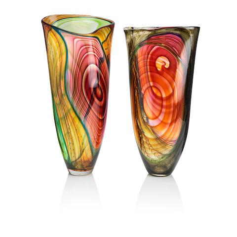 Two modern art glass vases