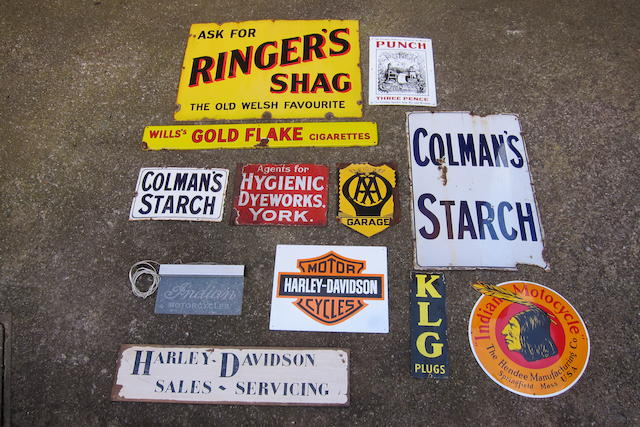 A selection of proprietary and motorcycle-related advertising signs  ((Qty))