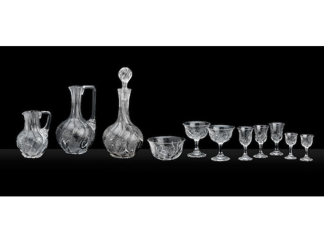 A part set of 'Rock Crystal' glass, possibly by Thomas Webb & Sons, Stourbridge Circa 1890