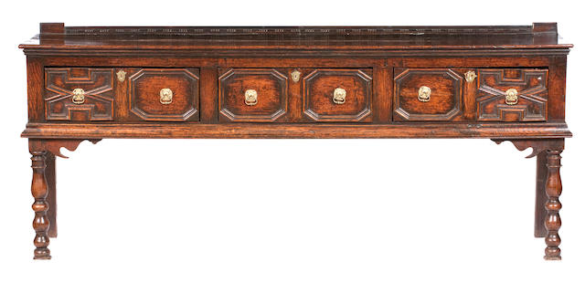 A 17th century oak dresser base