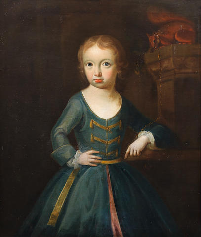 Follower of Sir Godfrey Kneller (Lübeck 1646-1723 London) Portrait of a girl, traditionally identified as Anne-Marie Cornwall (1711-1741), three-quarter-length, in a blue dress with a squirrel