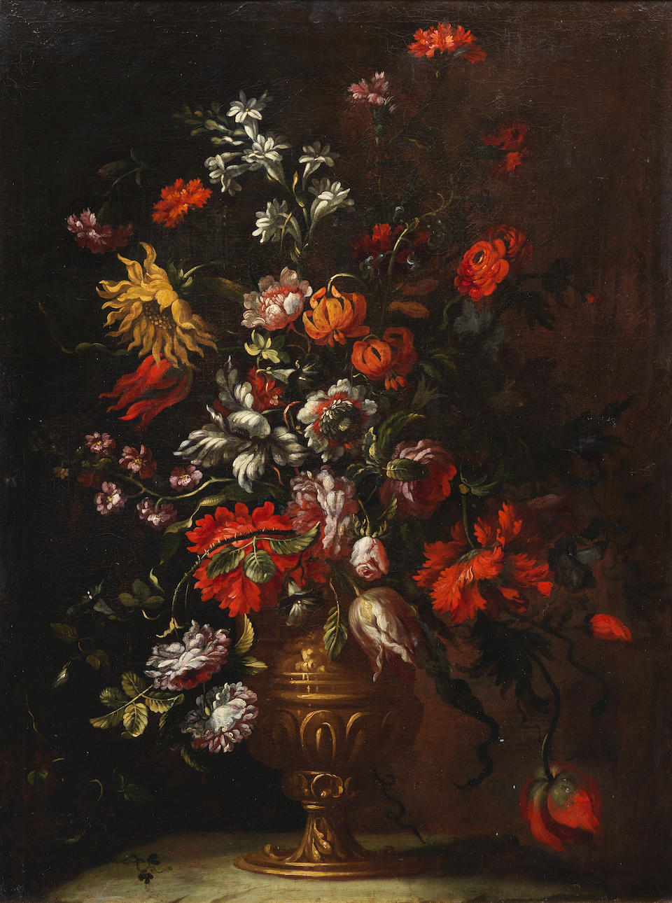 Follower of Jean-Baptiste Monnoyer (Lille 1636-1699 London) Tulips, poppies, roses and other flowers in a bronze urn