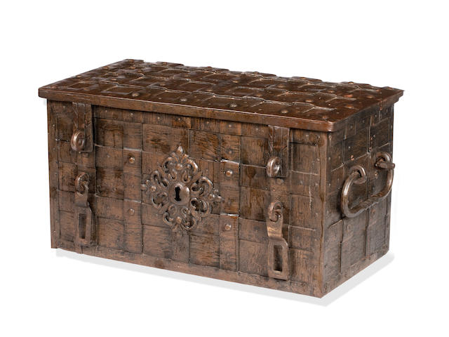 A large 18th century iron 'Armada' chest, probably German