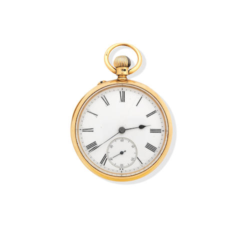 A 18ct gold open faced keyless pocket watch