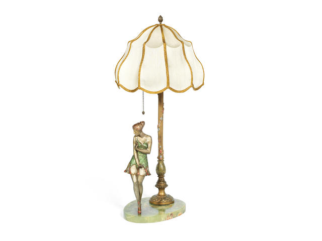 Bruno Zach (Austrian, 1891-1934) An Art Deco Cold-Painted Figural Table Lamp, circa 1925