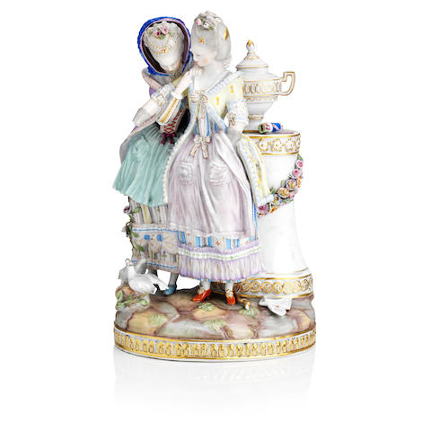 A Meissen figure group 'Secret of the Young Bride' Late 19th Century