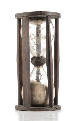 A 17th century oak-framed sand glass, English