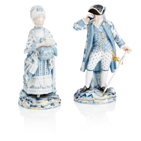 A pair of Meissen figures of a gallant and companion Circa 1900