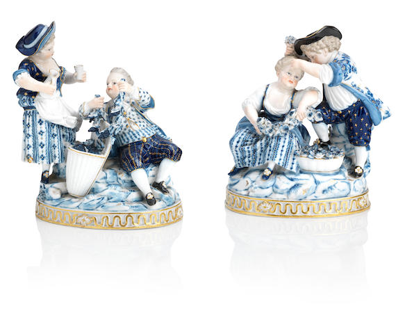 Two Meissen figure groups, 'Spring' and 'Autumn' Late 19th/early 20th Century