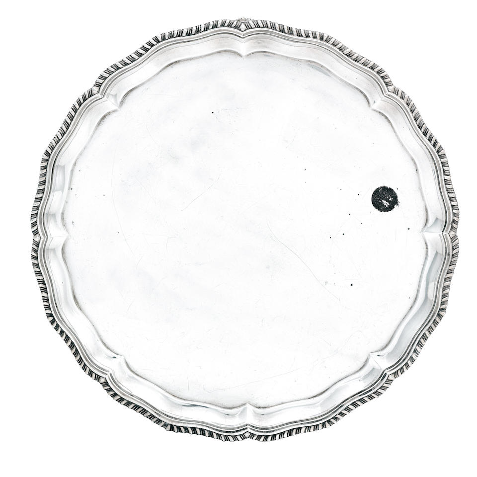 A silver salver in the George III manner by C.S Harris, 1932  (2)