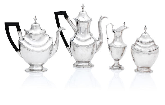 A Portuguese silver four piece tea service Lisbon, first quarter 20th century
