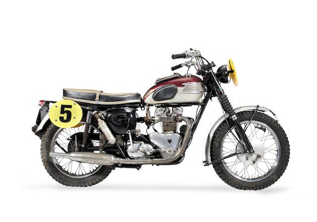 The ex-Bud Ekins; 1962 ISDT Gold Medal-winning, 1962 Triumph 649cc TR6SS Trophy Frame no. D17866 Engine no. TR6SS D17866