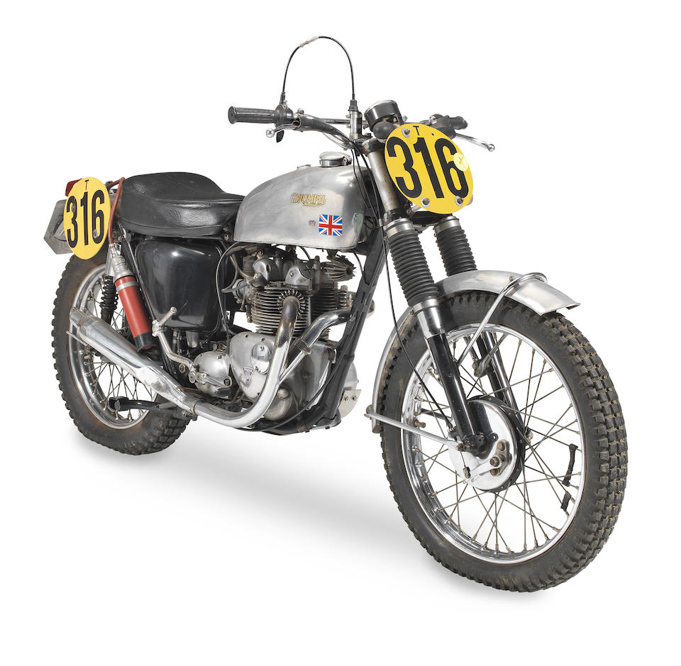 The ex-works; Gordon Farley; Colin Dommett; ISDT; Gold Medal-winning, 1966 Triumph 504cc Trials Frame no. H45150 Engine no. H45150