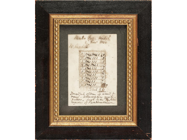 A LEITH THISTLE GOLF WINER MEDAL SCORECARD DATED 1820