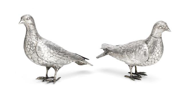 A pair of small German silver pheasant decanters by Neresheimer, Hanau  (2)