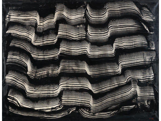 Behjat Sadr (Iran, 1924-2009) Untitled (Abstract Movement in Black)