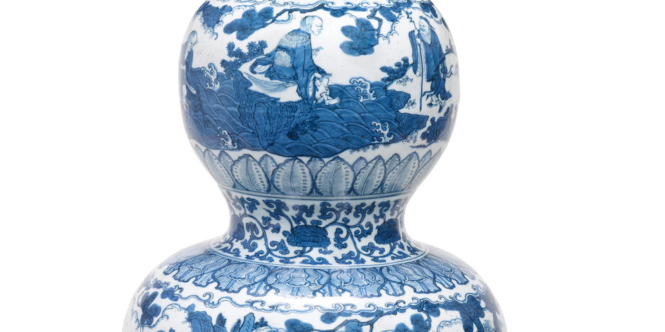 An exceptionally rare and large blue and white 'Immortals' double-gourd vase Jiajing six character mark and of the period