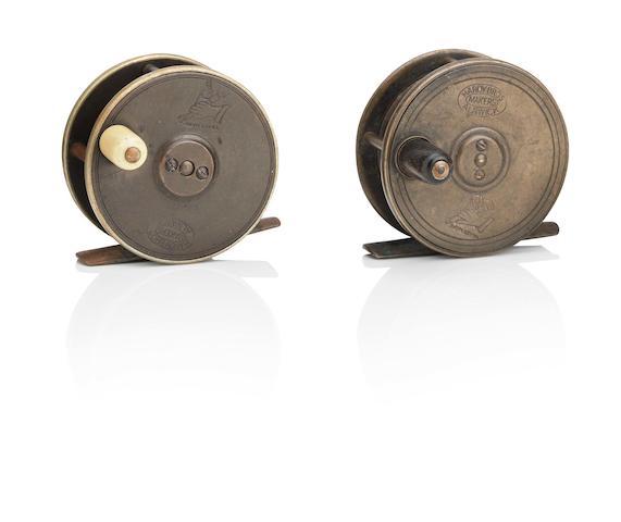 A Hardy 'Birmingham' 2 ½in brass reel ((2))