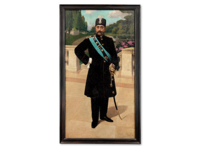 An official portrait of Muzaffar al-din Shah Qajar (Reg. 1896-1907), painted on the occasion of his state visit to Belgium in 1905, by Aimé Oscar Stevens Belgium, dated 1905