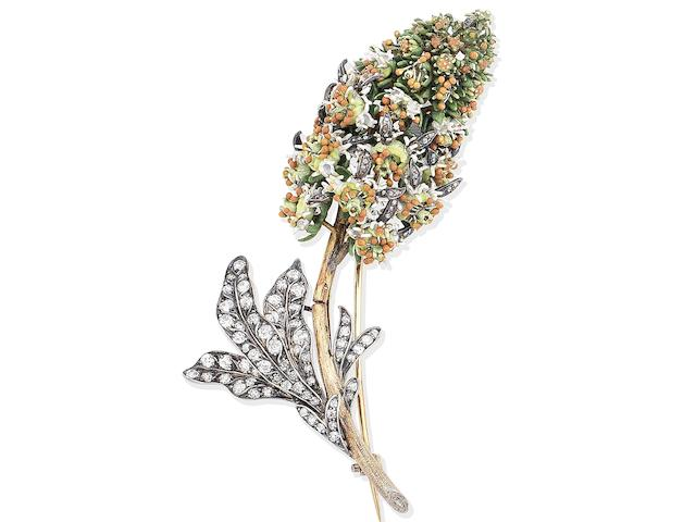 A gold, enamel and diamond 'Mignonette' brooch, probably by Tiffany, circa 1890-1900