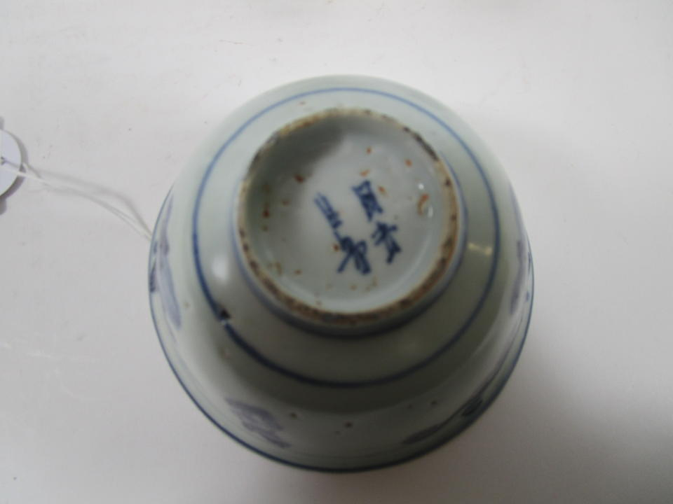 A blue and white bowl, four snuff bottles and two seal paste boxes Various dates (13)